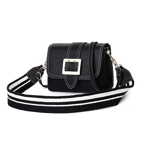 5376f9e24d2f Amazon.com: Cujubag Women Leather Shoulder Bag Wide Strap Black ...