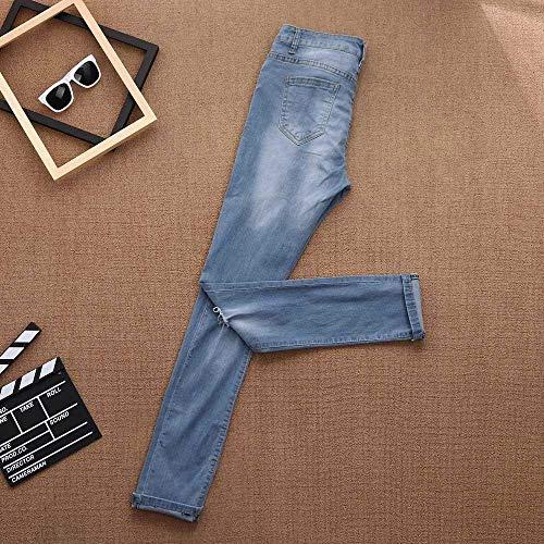 Estampado Medias Tendencia Sueltos Agujero Casuales Con Vaqueros Blau Mujer Salvajes Mujeres Pantalones Bordados De Monocromáticos Moda La q7wfx7BRZ