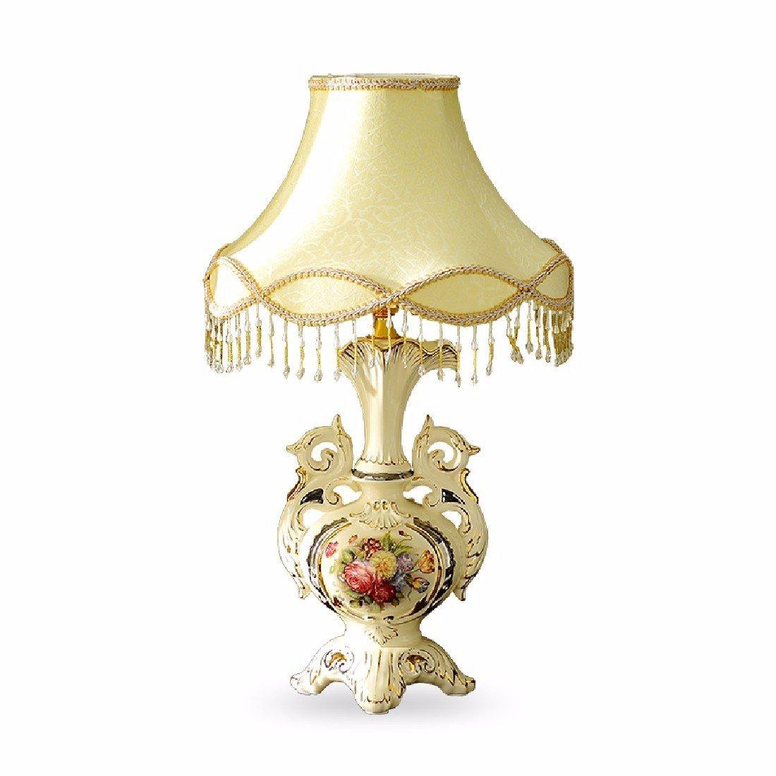YFF@ILU Europäischen Tischleuchte, warme Schlafzimmer Nachttischlampe, Luxus retro pastorale Wohnzimmer Keramik Tischlampe,