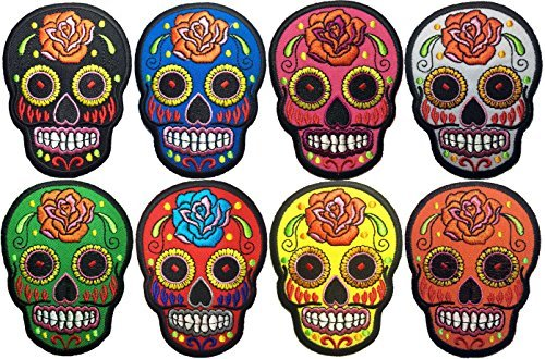 Set 8 of Mexican Sugar Skull Tattoo Biker Sew on Iron on Patch Embroidered Applique DIY by Ranger Return (Blue, Black, Green, Red, Pink, Yellow, White, -