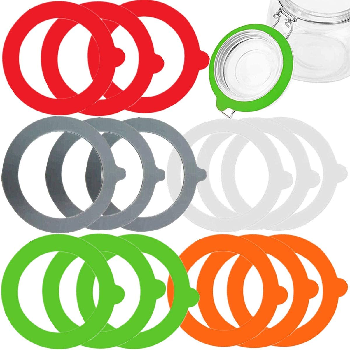 15 Pieces Silicone Replacement Gaskets Airtight Rubber Seals Rings for Mason Canning Tank Jar Lids Sealing Ring Red Orange Green Gray White