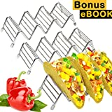 Taco Holder - Pack of 3 Stainless Steel Taco Rack/Shells/Tray (Bonus: Ebook,Spatula) Space for 9 to 12 Pieces Hard and Soft Shell | Amazing Gift for Baker Fun Meal Party | Safe In Oven