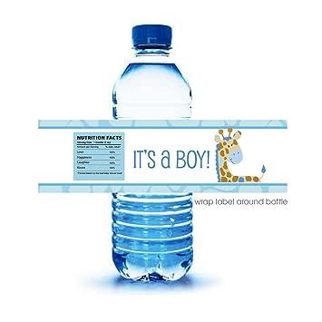 blue giraffe itu0027s a boy baby shower water bottle labels 12count