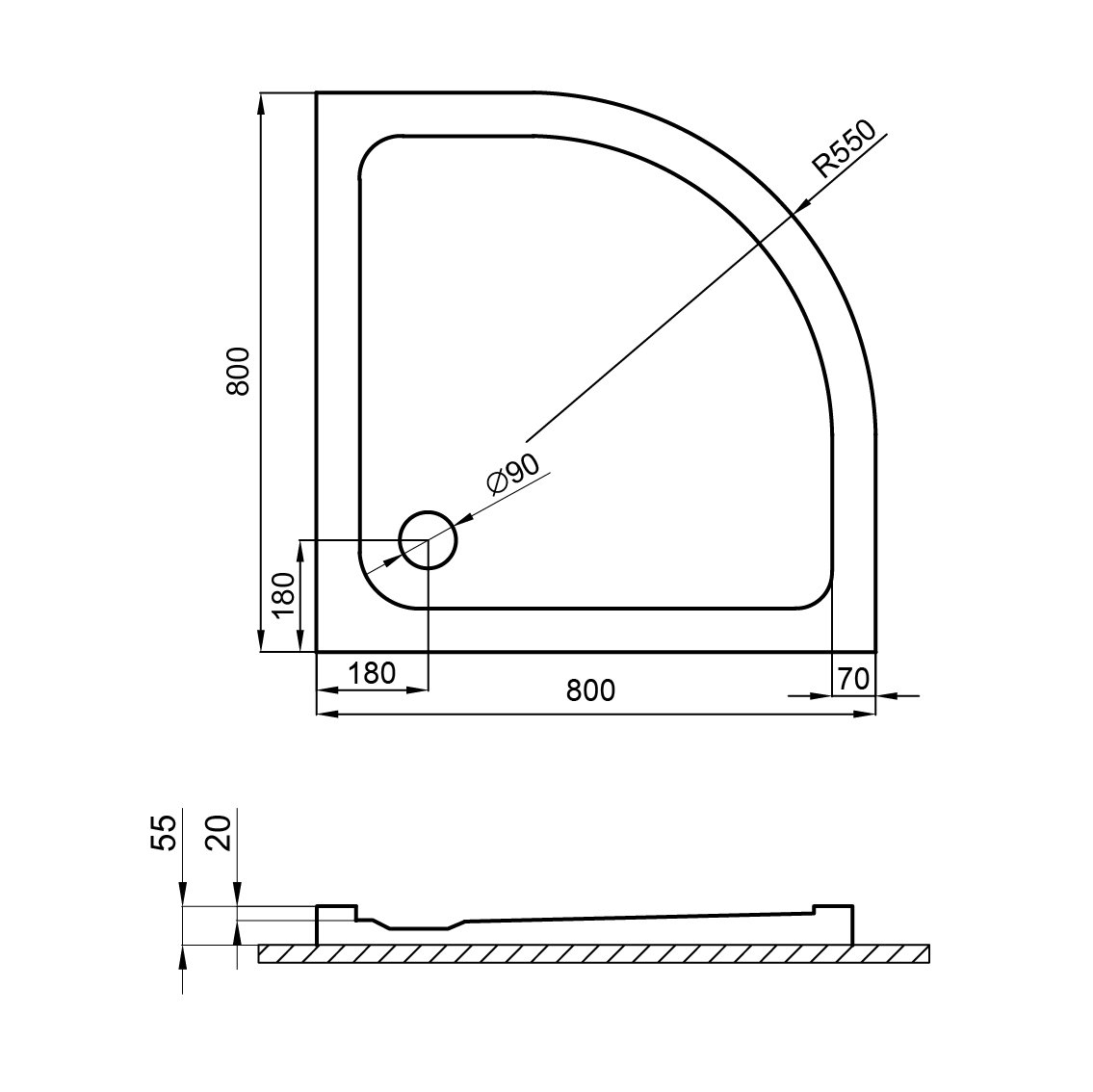 altezza di costruzione super sottile di 5,5 cm costruzione stabile Piatto doccia Nordona/® SIMPLEX di alta qualit/à semicircolare 80 x 80 cm