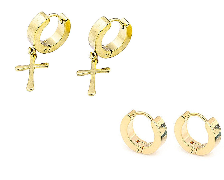 c7800f7f6a05 Injoy Jewelry Aretes de acero inoxidable con aro cruzado Huggie Pendientes  pequeñ os con forma de