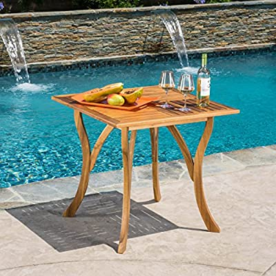 Christopher Knight Home Baia Square Acacia Wood Table - The Christopher Knight Home hermosa Dining Table is a gorgeous addition to any patio This stylish Table has room for four chairs, perfect for family outdoor dinners and hosting get-togethers for you and your friends Manufactured in China - patio-tables, patio-furniture, patio - 61ZDzsuOVVL. SS400  -