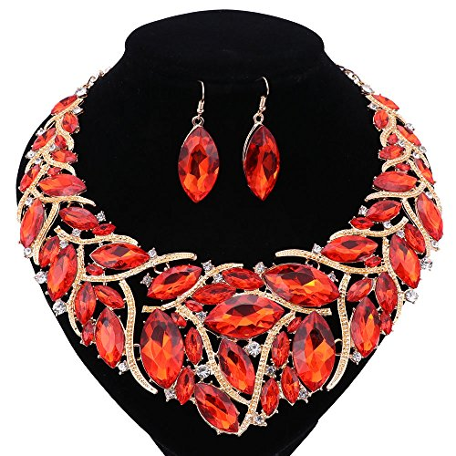 Red Necklace And Earring Set - African Beads Jewelry Sets Women Bridal Crystal Statement Necklace Earring Jewelry Sets (Red)