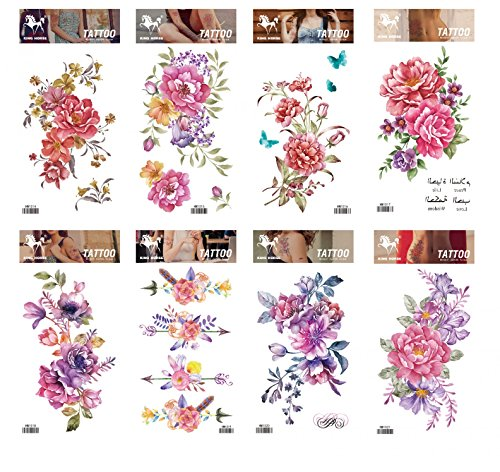 Spestyle waterproof and non toxic tattoo 8pcs mixes flower fake temp tattoo stickers in a packages,including colorful red,purple,pink flowers fake temp tattoo stickers