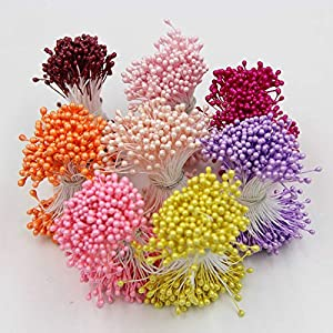4 Bundle= (1200PCS ) 5.5cm Artificial Flower Double Heads Stamen Pearlized Craft Cards Cakes Decor Floral For Home Wedding Party Decor 18