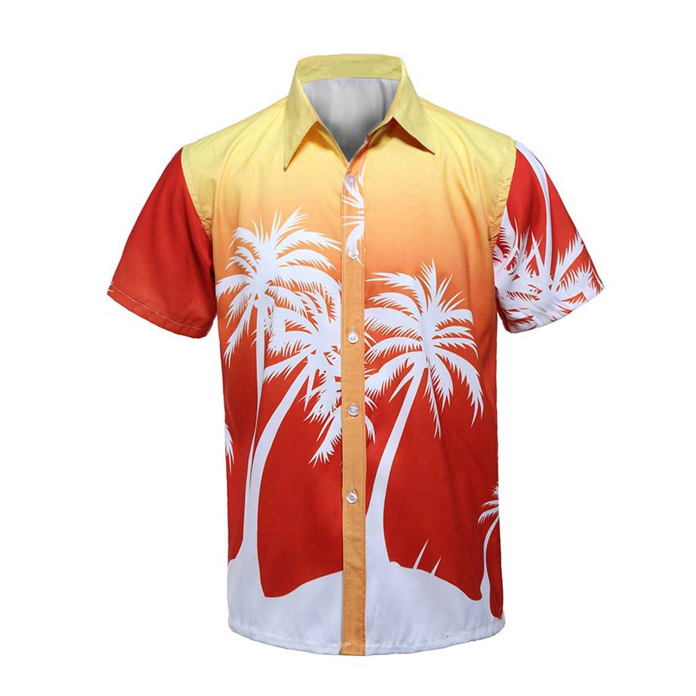 Dersimio Mens Beach Hawaiian Shirt Palm Tree Holiday Tropical Summer Short Sleeve Shirt Men Clothing Casual Loose Shirts Orange-4XL