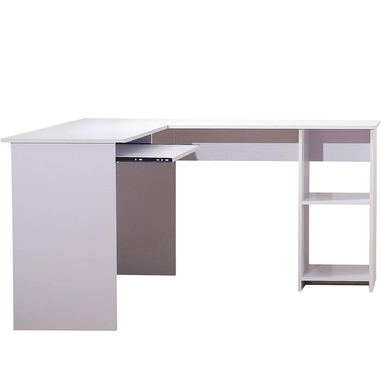 Scrivania Porta Pc Ad Angolo.2 Piani Di Lavoro Bianco E Nero Bianco Scaffale 2 Vani 135 5 115 74 Cm