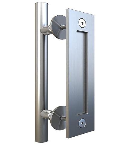 Hetai Door Pulls And Handles Hardware Pull And Flush Door Handle Set  Sliding Barn Door Hardware