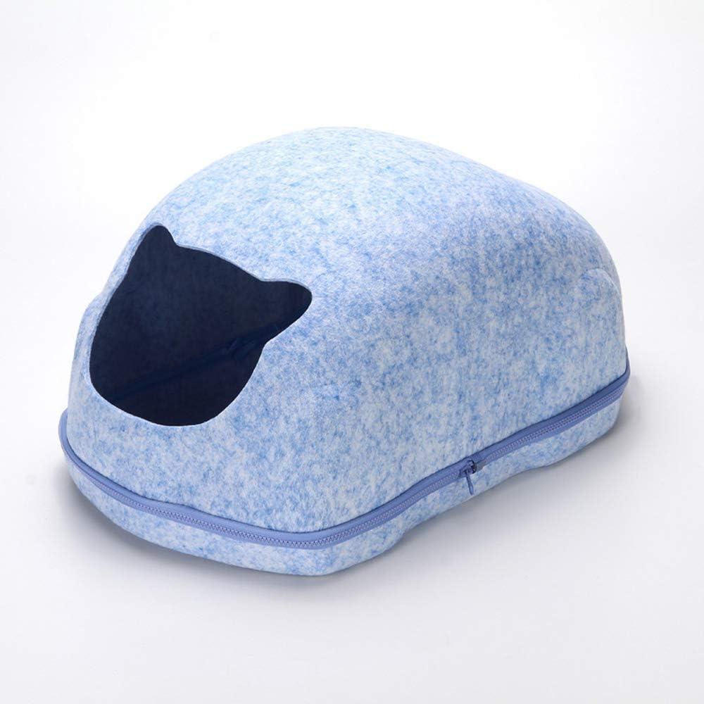 小さなかわいいペットレスト猫のベッドルーム猫の洞窟活動玩具に適した小さな猫の巣子犬の巣56 * 35 * 30センチマルチカラーオプション (色 : 青) 青