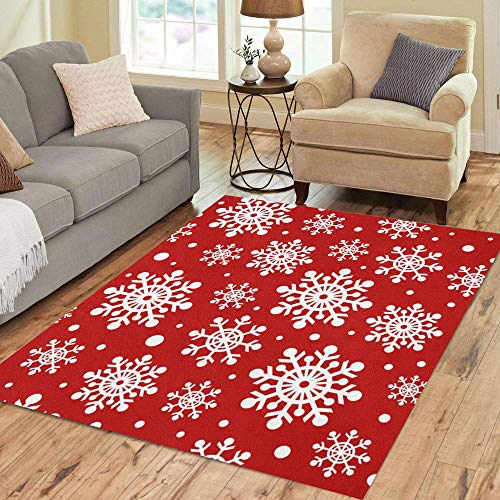 Snowflake Pattern White - Semtomn Area Rug 5' X 7' Christmas Pattern Holiday White Snowflakes of Various Sizes Home Decor Collection Floor Rugs Carpet for Living Room Bedroom Dining Room