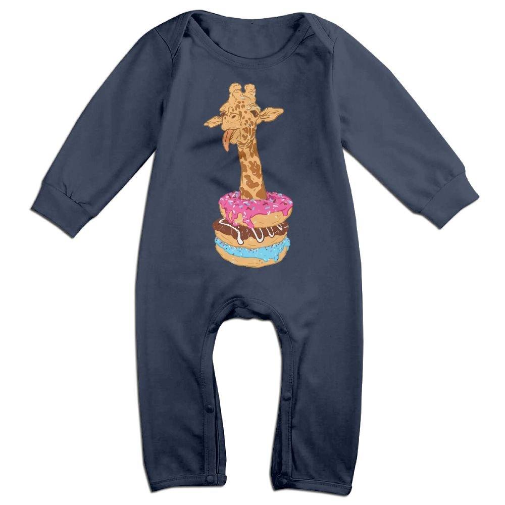 Mri-le1 Baby Boy Girl Long Sleeved Coveralls Giraffe Donut Toddler Jumpsuit