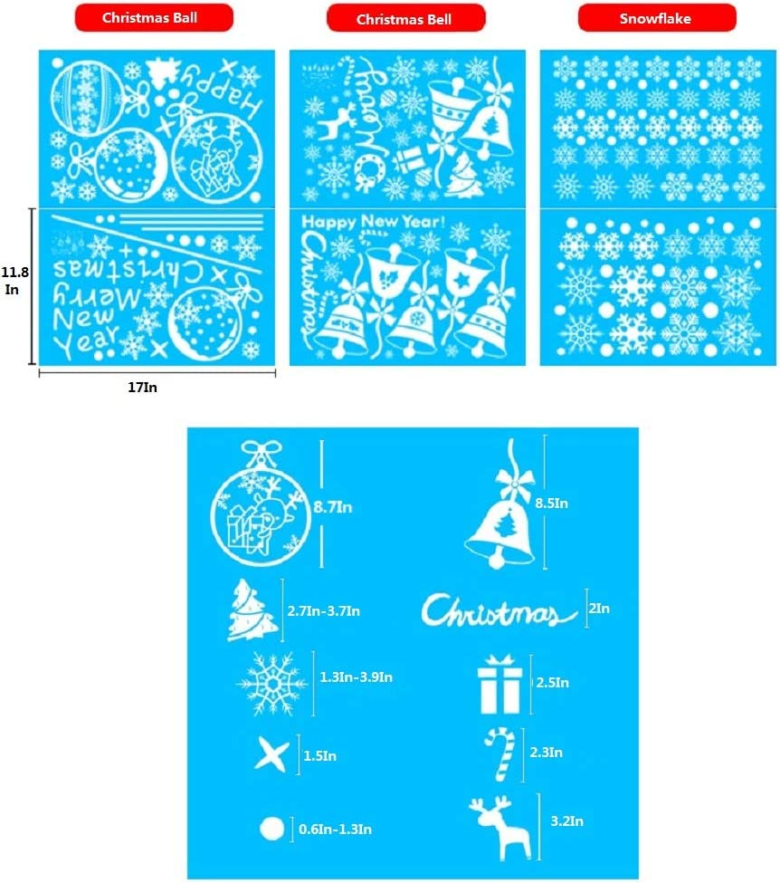 6 Sheets Guolz 220Pcs Christmas Snowflake Window Clings Stickers Baubles and Bells Decal Wall Decorations Xmas//Holiday//Winter Wonderland Party Supplies