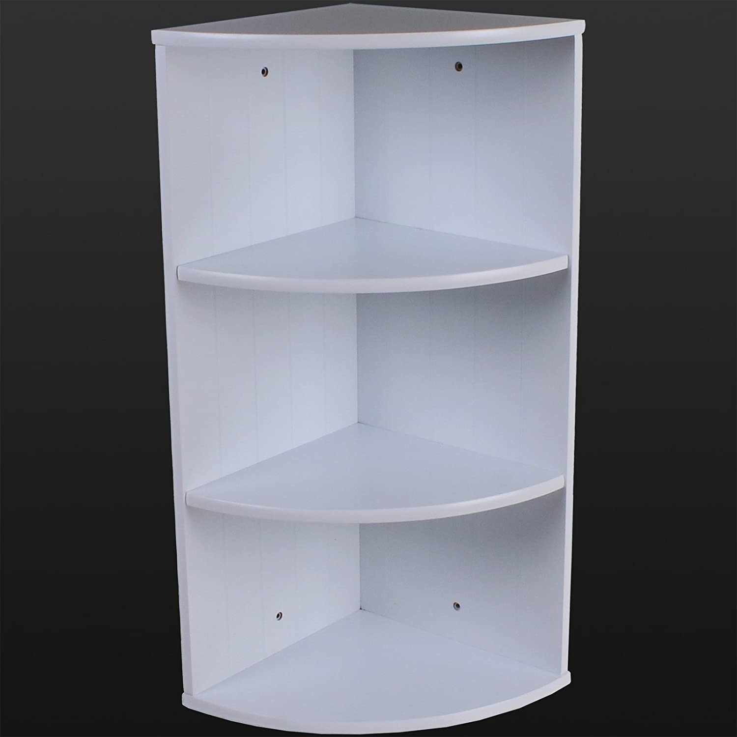 Marko Bathroom 3 Tier Corner Shelving Unit White Wooden Shelves