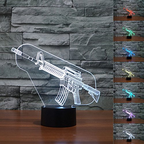 SUPERNIUDB Creative Gifts Gun Lamp Nightlights 3D Night Light Table Desk Optical Illusion Lamps 7 Color Changing Lights
