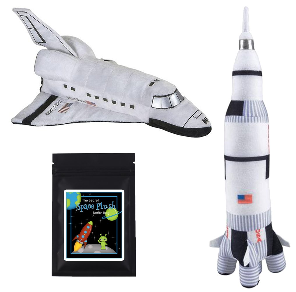 14 Plush NASA Space Shuttle & 17.5 Plush Saturn Rocket Ship Stuffed Toys Bundle with Bonus Prize Mixed