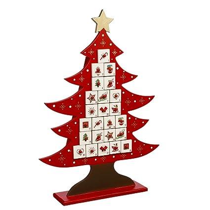 Calendrier De Lavent Deco.Deco Noel Calendrier De L Avent Durable En Bois Forme Sapin