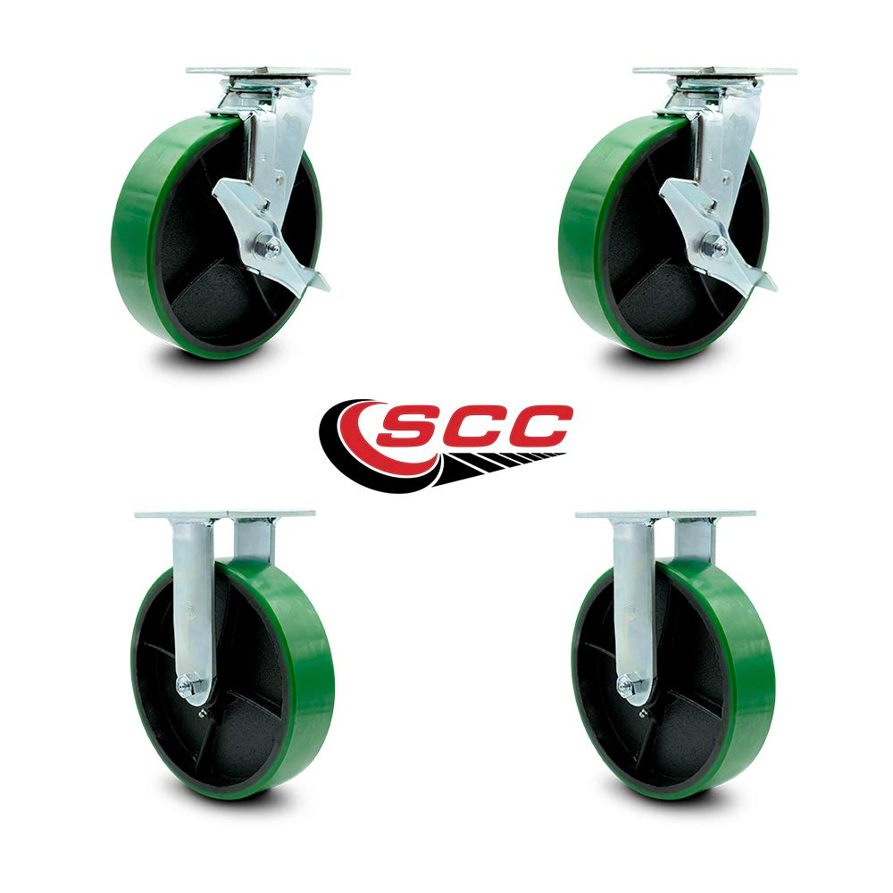 Service Caster - 8'' x 2'' Polyurethane Wheel Caster Set - Green on Black - 2 Swivel w/Brakes/2 Rigid - Non Marking - 5,000 Lbs Total Capacity - Set of 4