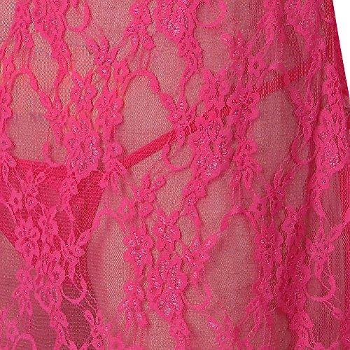 Grebrafan Lencería Ropa Interior Mujer Pijama Atractiva Lencería Cuello en V Ravishing Babydoll Suave de Encaje Sling Vestido Conjunto Rosa