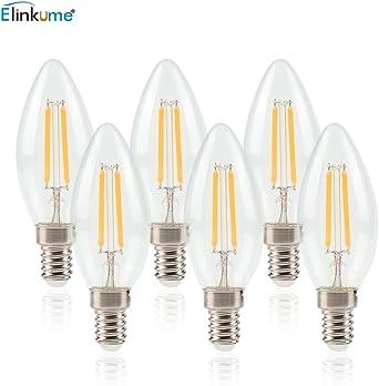 Bombilla LED E14 de Filamento - ELINKUME 6W Equivalente a 50W, 550 ...