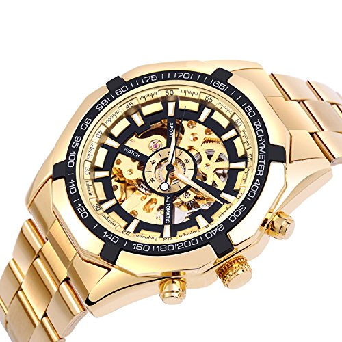 Automatic Quartz Watch (ALIENWOLF Men's Mechanical Automatic Watch Luxury Mesh Band Quartz Stainless Steel Watch (Gold))
