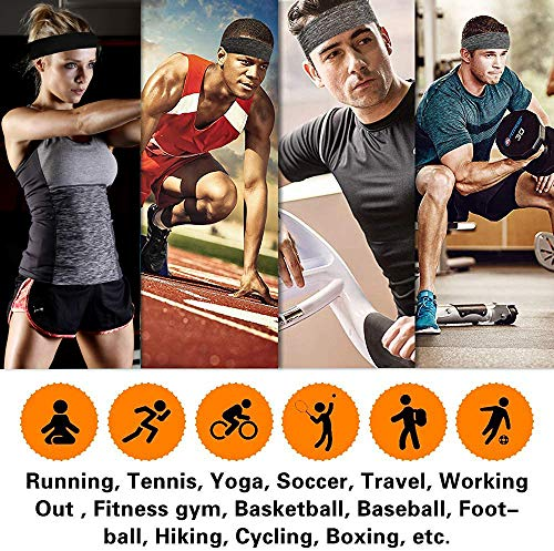DOMEI 4PCS Mens Athletic Headbands Workout Sweat Bands Headbands Men Fitness Hair Band for Running, Cycling, and Football