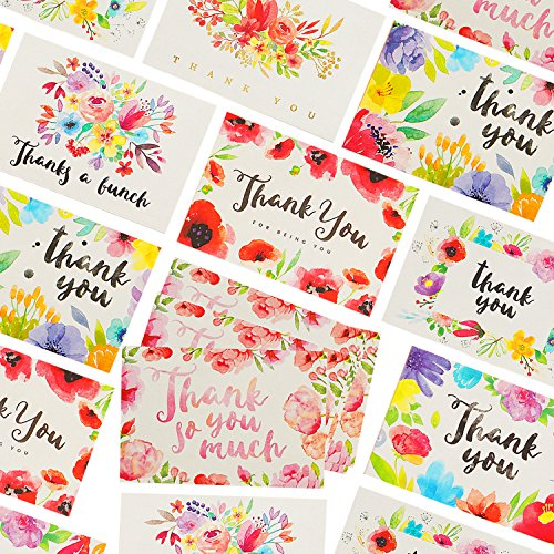 """Price comparison product image 56 Unique Thank You Postcards - 7 Beautiful Watercolor & Floral Designs on 4x6"""" Thank You Cards,  Matching Box & 58 ENVELOPES,  Perfect for Those Informal,  Everyday,  Simple & 'Just Because' Thank You's"""