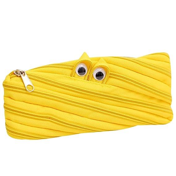 OuYou - Estuche para lápices con cremallera y diseño de monstruo de ojos grandes, color amarillo: Amazon.es: Oficina y papelería