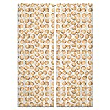 Peach Curtain: Wide Window Treatment Set of 2 Panels for Living Room Bed Room