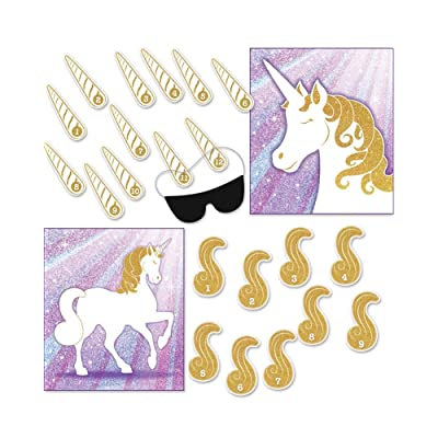 Unicorn Party Games - 2 in 1 - Pin the Horn & Pin the Tail - Blindfold Included - For 9 to 12 Players: Toys & Games