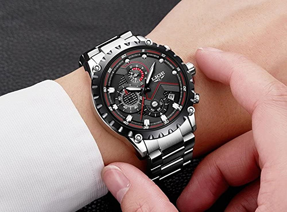 Men's Watches 2018 Mens Sports Blueμlti-led Lights Ball Display Silver Mesh Stainless Steel Band Digital Week Date Women Wrist Led Watch A3 Digital Watches