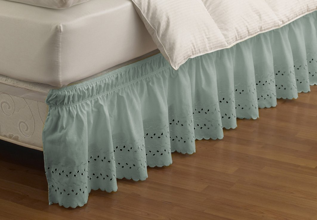 EasyFit 11578BEDDQKGSPA Wrap Around Eyelet Ruffled Queen/King Bed Skirt 80-Inch by 60-Inch with 15-Inch drop, Spa