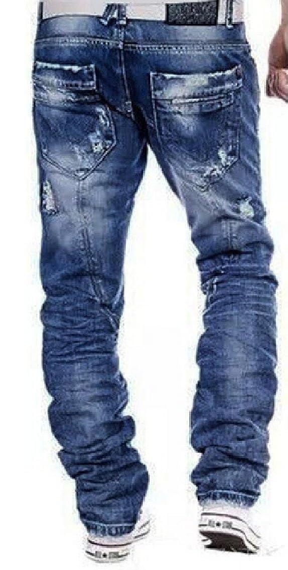 Yayu Mens Ripped Skinny Jeans Comfy Stretch Fashion Biker Jean Pants