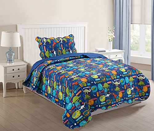 MarCielo 2 Piece Kids Bedspread Quilts Set Throw Blanket for Teens Boys Girls Bed Printed Bedding Coverlet, Twin Size, Dinosaur (Twin) - Dinosaur Twin Comforter