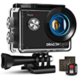 Dragon Touch Action Cam 4K, Action Camera 20MP EIS anti-shake-ondersteuning externe microfoon onderwatercamera 30 m waterdichte sportcamera met montage-accessoires Kit - Vision 4 Lite