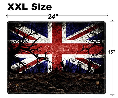 Luxlady Extra Large Mouse Pad XXL Extended Non-Slip Rubber Gaming Mousepad 24x15 Inch, 3mm thick Stitched Edge Desk Mat IMAGE ID 31510476 Halloween Festival and United Kingdom Flag Background