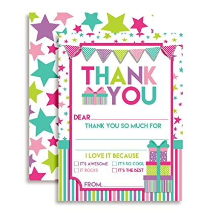 amazon com birthday thank you notes for kids stars and presents
