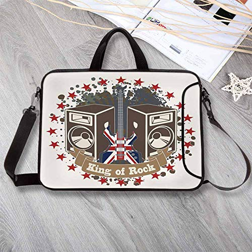 Popstar Party Neoprene Laptop Bag,King Rock Label with Speakers Stars and Electric Guitar with British Flag Decorative Laptop Bag for Office Worker Students,14.6
