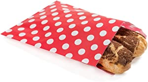 7 x 5 Inch Cookie Bags, 100 Biodegradable Paper Treat Bags - Use As Party Favors Or Candy Bags, Food Safe, Red With Polka Dots Paper Food Bags For Baked Goods, For Buffets Or Parties