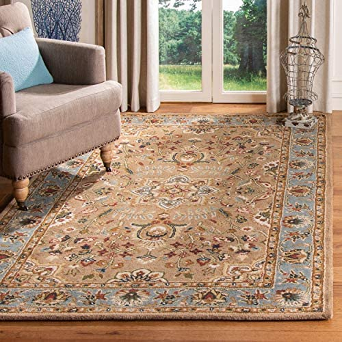 Safavieh Classic Collection CL387A Handmade Traditional Oriental Beige and Light Blue Wool Area Rug 9'6″ x 13'6″