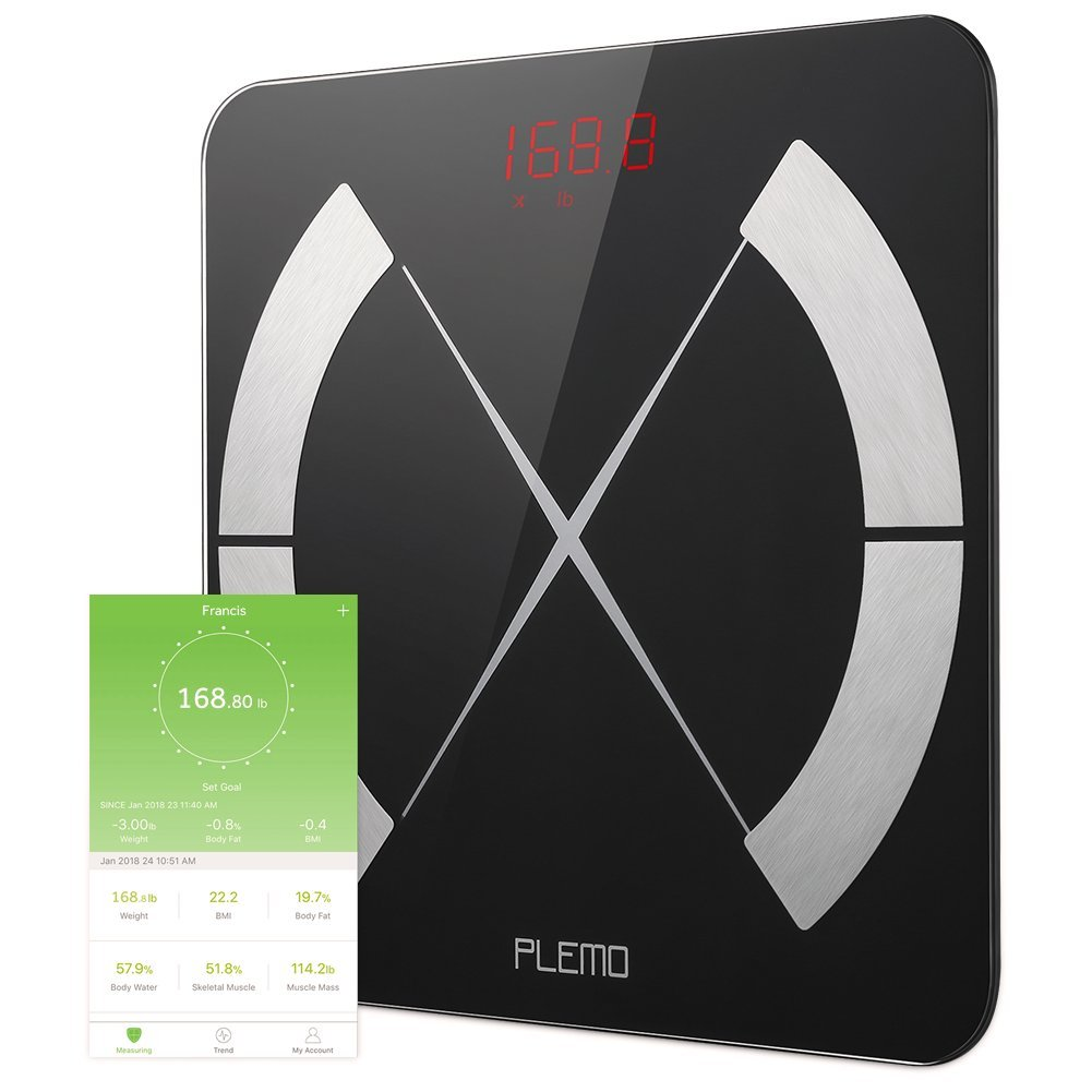PLEMO Body Fat Scale, Smart Body Composition Scale, Body Weight Scale, Smart BMI Scale Digital Bathroom Weight Scale, Body Composition Analyzer with Smartphone App