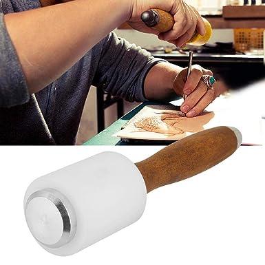 Marteau /à d/écouper,Marteau en nylon en forme de T en cuir avec manche en bois sculptant un outil de bricolage,/Maillet de sculpture en cuir
