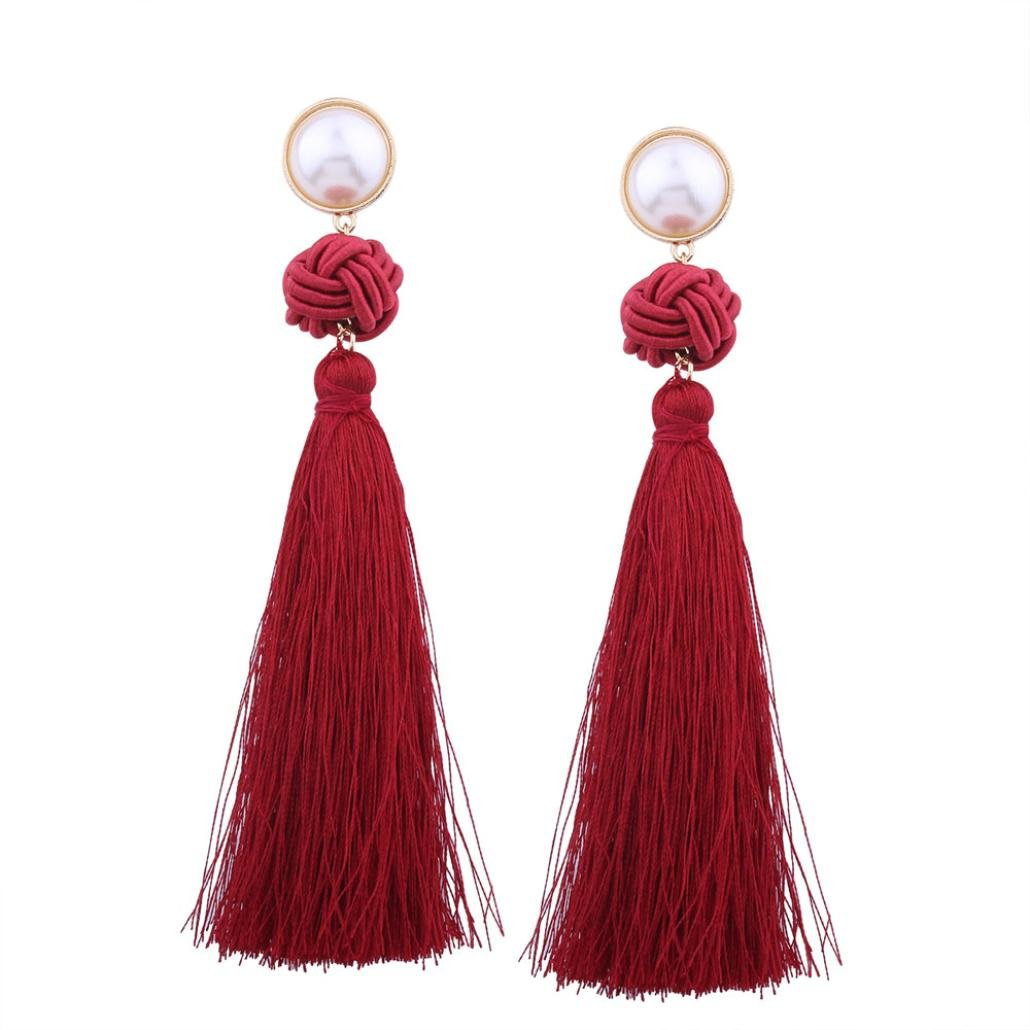 Minshao Vintage Women Bohemian Fashion Weave Tassel Earrings Long Drop Earrings Jewelry (Black)