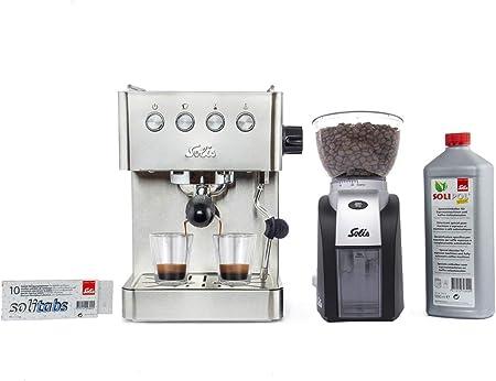 Solis Barista Gran Gusto 1014 - Set Cafetera expresso automática + Molinillo de café - 1 o 2 tazas - Máquina de café expreso - Acero inoxidable: Amazon.es: Hogar