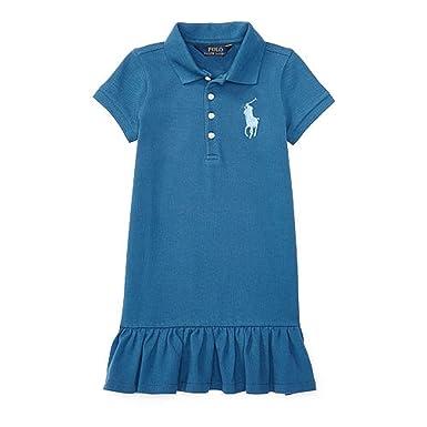 432224c30 Ralph Lauren Little Girls 2T-6X Big Pony Stretch Mesh Ruffled Dress (2T