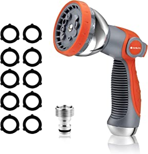Garden Hose Nozzle, 10 Patterns High Pressure Garden Hose Nozzles, Water Hose Spray Nozzle Heavy-Duty for Watering Lawns, Washing Cars & Pets