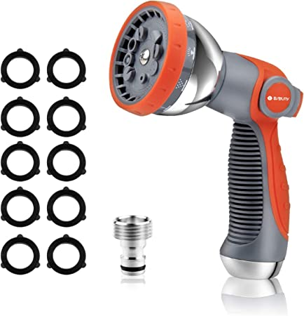 High Pressure Hose Nozzle Sprayer with 8 Adjustable Patterns Ideal for Gardening Pet Shower Heavy Duty Water Hose Spray Nozzle Garden Hose Nozzle Car Wash Thumb Control for Water Flow Adjustment 2020 Upgraded